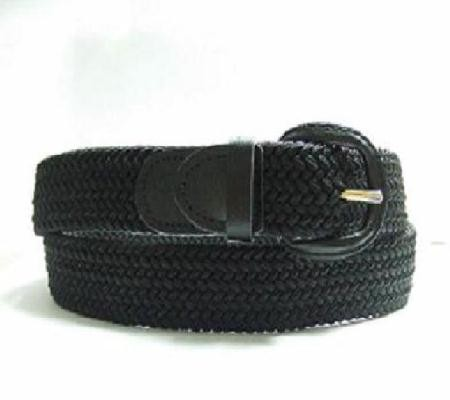 LA-400BK BLACK WHOLESALE STRETCH LEATHER BELT, MEDIUM