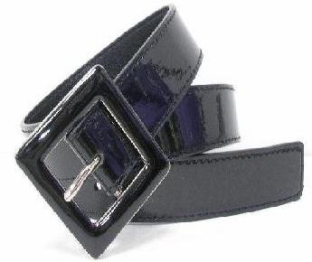 "WN-148 BLACK 1 1/4"" PATENT LEATHER BELT W/ENAMEL BUCKLE, LARGE (36/38)"