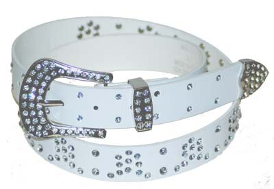 WN-305 WHITE STUDDED LEATHER BELT WITH FANCY BUCKLE, MEDIUM