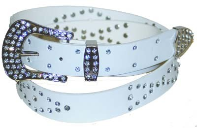 WN-306 WHITE STUDDED LEATHER BELT WITH FANCY BUCKLE, LARGE