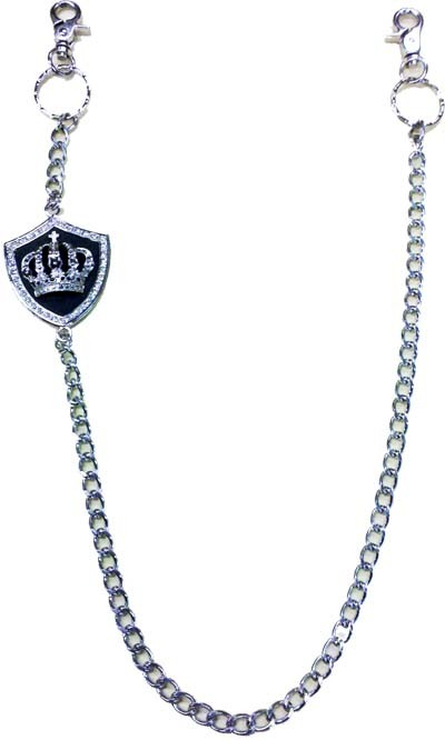 JC-37 JEANS CHAIN W/CROWN ON SHIELD EMBLEM