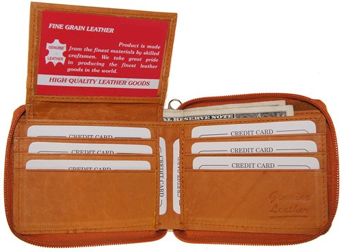 WA-1306 COWHIDE ZIP AROUND LEATHER WALLET W/CTR FLAP IN TAN