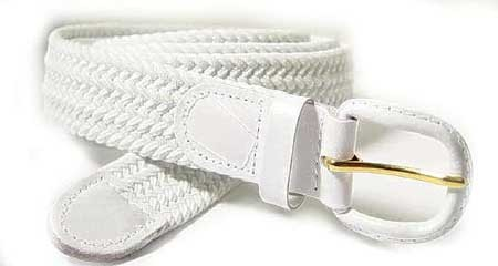 LA-400WH WHITE STRETCH BELT, MEDIUM (34/36)