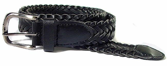 LA-372 BLACK LEATHER BRAIDED BELT, XL (42/44)