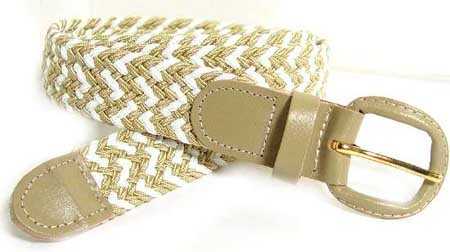 LA-400MBG BEIGE/WHITE STRETCH BELT, MEDIUM (34/36)