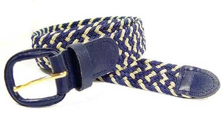 LA-400MNB NAVY/BEIGE STRETCH BELT, LARGE (38/40)