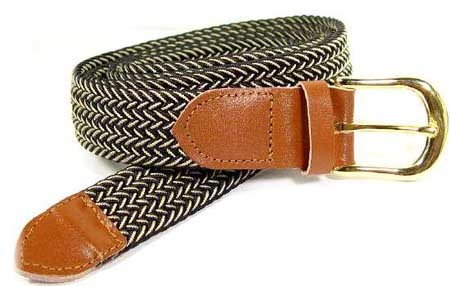 LA-401 BLACK/BEIGE MIX STRETCH BELT, MEDIUM (34/36)
