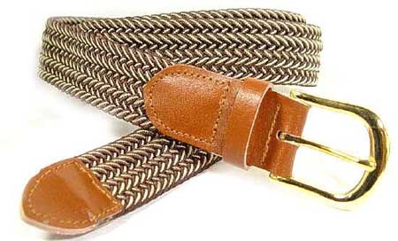 LA-401 BROWN/BEIGE MIX STRETCH BELT, MEDIUM (34/36)