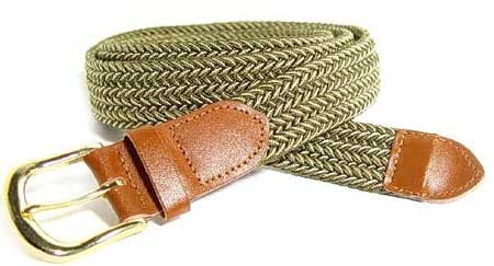 LA-401 OLIVE/BEIGE MIX STRETCH BELT, SMALL (30/32)