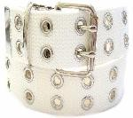 WN-56 TWO HOLE CANVAS BELT - WHITE, LARGE