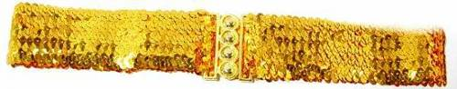 WN-123 LADIES SEQUINCE STRETCH BELT, GOLD