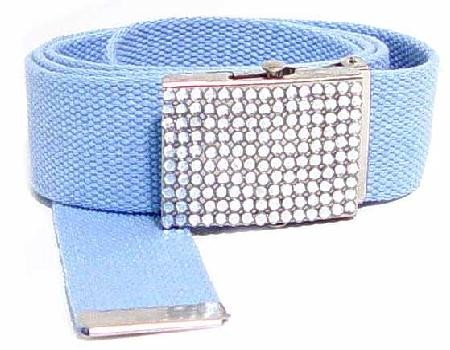 WN-BZ30 CANVAS MILITARY STYLE BELT WITH RHINESTONE BUCKLE, BABY BLUE