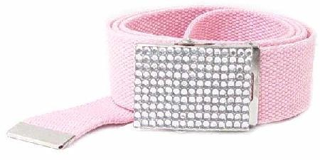 WN-BZ30 CANVAS MILITARY STYLE BELT W/RHINESTONE BUCKLE, PINK