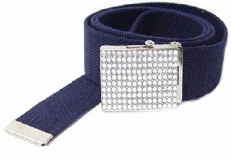 WN-BZ30 CANVAS MILITARY STYLE BELT W/RHINESTONE BUCKLE, NAVY