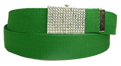 WN-BZ30 CANVAS MILITARY STYLE BELT W/RHINESTONE BUCKLE, GREEN