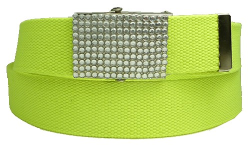 WN-BZ30 CANVAS MILITARY STYLE BELT W/RHINESTONE BUCKLE, LIME