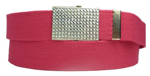 WN-BZ30 CANVAS MILITARY STYLE BELT W/RHINESTONE BUCKLE, FUCHSIA
