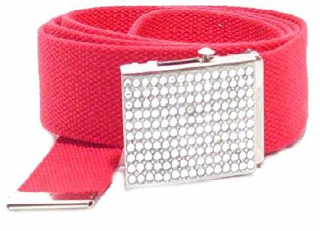 WN-BZ30 CANVAS MILITARY STYLE BELT WITH RHINESTONE BUCKLE, RED