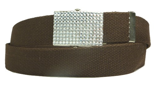 WN-BZ30 CANVAS MILITARY STYLE BELT W/RHINESTONE BUCKLE, BROWN