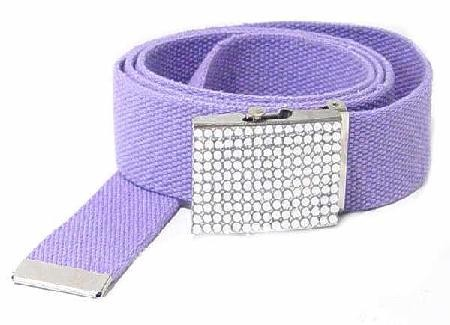 WN-BZ30 CANVAS MILITARY STYLE BELT W/RHINESTONE BUCKLE, PURPLE