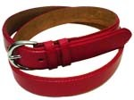 "LA-5549 1 1/4"" DRESS BELT WITH DOUBLE KEEPER - RED, LARGE (38/40)"