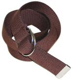 "WN-150 BROWN 1 1/2"" CANVAS BELT W/DOUBLE ""D"" RING BUCKLE, MEDIUM"