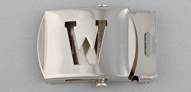 WN-141 INITIAL W MILITARY STYLE BELT BUCKLE