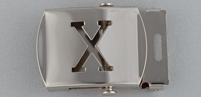 WN-141 INITIAL X MILITARY STYLE BELT BUCKLE