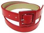 "WN-148 RED 1 1/4"" PATENT LEATHER BELT W/ENAMEL BUCKLE, SMALL (30/32)"