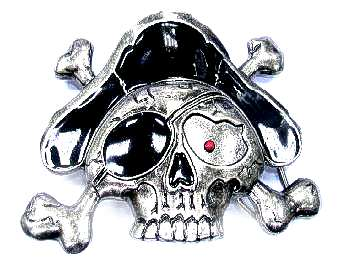 "BU-124 3 1/4"" X 4 1/2"" PIRATE SKULL & BONES BELT BUCKLE"
