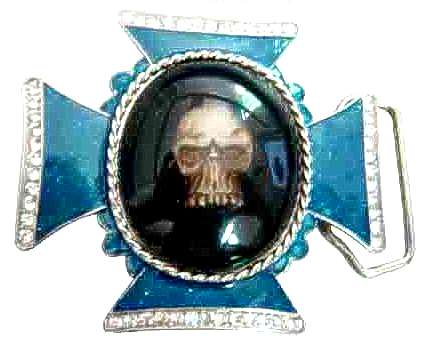 "BU-166 3""1/2 X 3""3/4 SKULL IN A CROSS BELT BUCKLE"