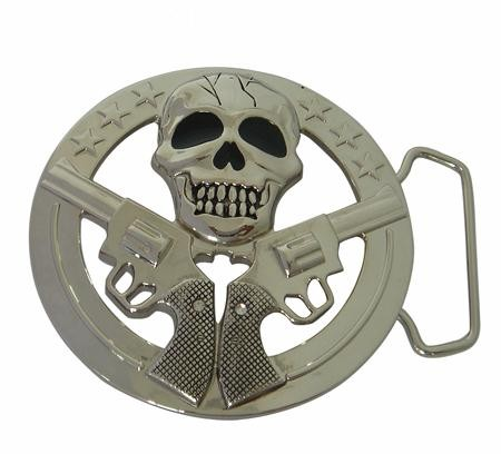 "BU-163 3""1/2 X 3""1/2 SKULL W/TWO GUNS BELT BUCKLE"