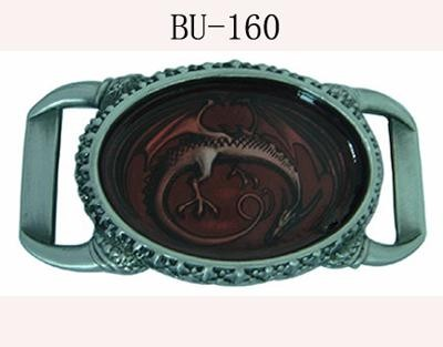 "BU-160 2""1/2 X 4""1/2 RED DRAGON IN CIRCLE BELT BUCKLE"