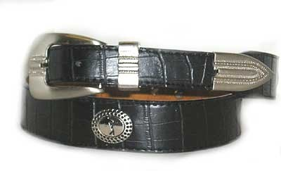 LA-7222 BLACK CROCODILE  GRAIN W/GOLFER ON CONCHO, LARGE (38/40)