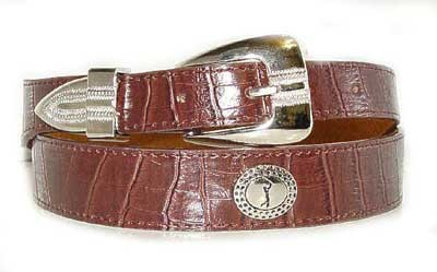 LA-7222 BROWN CROCODILE  GRAIN W/GOLFER ON CONCHO, SMALL (30/32)