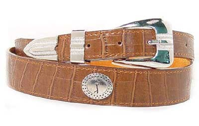 LA-7222 TAN CROCODILE  GRAIN W/GOLFER ON CONCHO, SMALL (30/32)