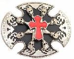 "BU-210 OVAL 8 SPIN SKULLS W/ RED CROSS BELT BUCKLE (3.5"" T X 4"" W)"