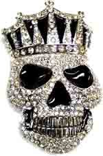 "BU-32 LARGE SKULL W/ CROWN COVERED IN CLEAR STONES BELT BUCKLE (5"" T X 3 1/2"" W)"