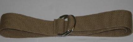 "WN-150 LIGHT BEIGE 1 1/2"" CANVAS BELT W/DOUBLE ""D"" RING BUCKLE, MEDIUM"