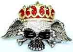 "BU-67 SKULL BELT BUCKLE W/RED CROWN ALL COVERED W/RHINESTONES (6.75 T X 4.25"" W)"