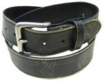 WN-DL35 DISTRESSED LEATHER BELT W/PEACE SIGNS, BLACK 2XL (43/45)