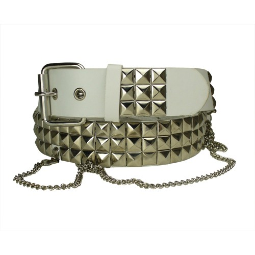 LA-4430 WHITE 3 PYRAMID BELT W/SNAPS & CHAINS, 3X/XXXL (50/52)