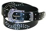 WN-303 BLACK STUDDED LEATHER BELT WITH FANCY BUCKLE, SMALL