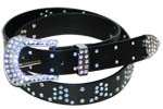WN-304 BLACK STUDDED LEATHER BELT WITH FANCY BUCKLE, XL