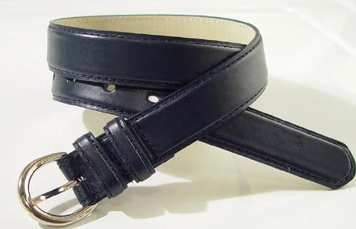 "WN-BD148 1 1/4"" DRESS BELT WITH DOUBLE KEEPER - NAVY BLUE, SMALL (30/32)"