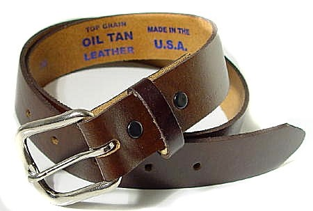 1.25 Brown USA Made Top Grain Leather Belt, 48""