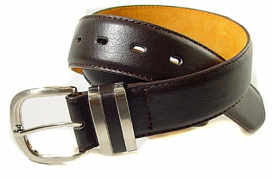 LA-003 1.5 BROWN LEATHER STITCHED BELT W/DOUBLE BELT KEEPERS, 34""