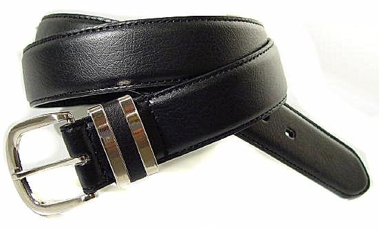 LA-003 1.5 BLACK LEATHER STITCHED BELT W/DOUBLE BELT KEEPERS, 34""