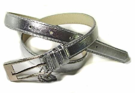 .5 Inch Glossy Silver Skinny Belt for Women in Large