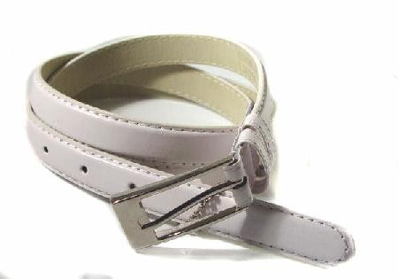 .5 Inch White Skinny Belt for Women in Large